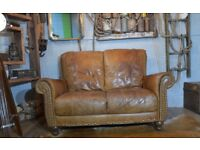 Vintage Leather 2 Seater Sofa Studs Brown