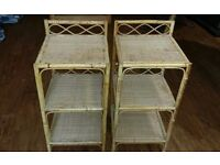 2 Matching Cane Bedside Units