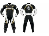 one piece yamaha leather suit black and gold trailor made