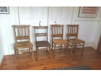 4 x Vintage Oak Church Chapel Chairs