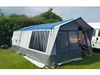 Conway trailer tent with large awning