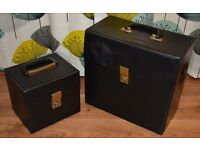 "2 x Record Storage Boxes 7"" & 12"" Black"