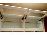 Ikea 2 x wall cabinet storage wardrobe horizontal with smoked glass doors white