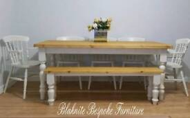 New Farmhouse Solid wood pine dining table and chairs Bench Shabby Chic