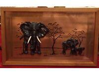VINTAGE 3D COPPER ELEPHANT PICTURE IN A HARDWOOD FRAME