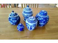 Blue and white China ginger jars