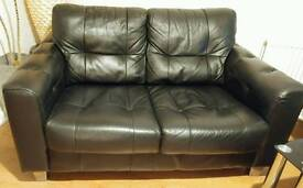 Black Leather 2 Piece Suite with Footstool