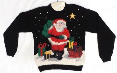 nta Pullover Soft Black Holiday Party Gifts  Karen Scott Vtg (Black Santa Pullover)