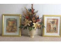 Available separately-large artificial floral arrangement - flowers in vase - also 2 pictures