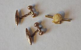 Hallmarked 9ct Gold Cufflinks And Brooch - 7.2gms