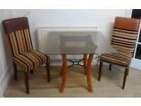 Stylish Glass Top Table and 2 Chairs
