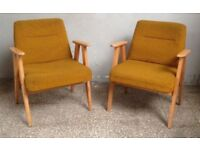 Set of 2 Vintage Polish Style Listening CHAIR Furniture Seat Decor Mid-Century Eye-Catching