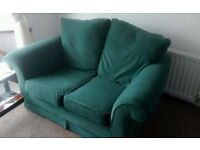 2 seater sofa, old sewing machine table- collection only