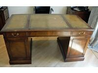 Mahogany Bevan Funnel Pedestal Desk with Leather inlay top.