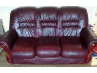 3 sweater leather sofa and chair for sale