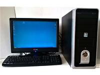 "Desktop PC Tower with YARAKU 19"" TFT LCD Monitor & Logitech 350 Keyboard; No Mouse"