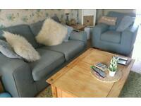 Settee 2 seater and chair DFS duck egg blue