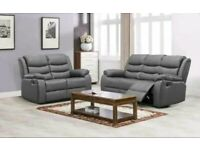 *BRAND NEW* 3 AND 2 GREY LEATHER SOFA SET