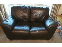 2 Seater Brown Leather Sofa from Land of Leather In Excellent Condition