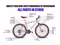 Bike Spares and Parts in Twickenham, wheels, gear shifters, tyres, brakes, Mountain & Road Bikes