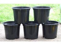 "NEW 1Lt 13cm 5.2"" Black Plant Pots - With 2 tier drainage levels - £1.00 for 5"