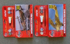 Airfix model kits (Starter sets). Spitfire and Tiger Moth, brand new, 1/72 scale