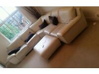Large corner cream leather sofa woth armchair and foot stool