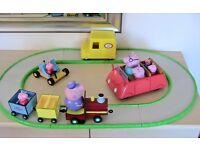 Toy Peppa Pig Talking Grandpa's Train, Track, Car with removable George, Go-Kart, Van Plus Figures