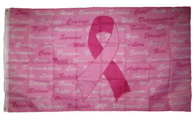 3x5 Breast Cancer Awareness Pink Ribbon Scriptures Flag 3'x5' Banner Grommets](Breast Cancer Banners)
