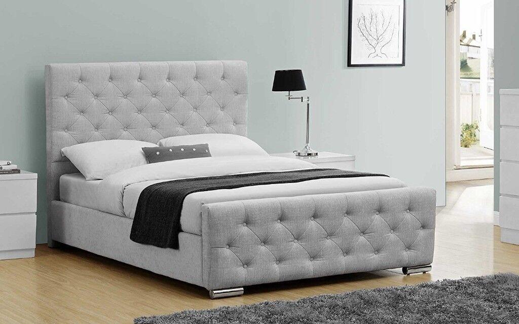 Luxury Upholstered Buckingham Bed Frame Crushed Grey Fabric - King ...