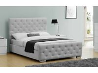 Luxury Upholstered Buckingham Bed Frame Crushed Grey Fabric - King Size with Mattress