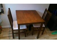 Dark wood smart small table and chairs set