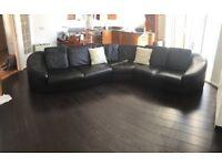 Black Italian Leather Marinelli Corner Sofa