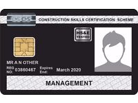 CSCS Experienced Manager Card within 1 week - done through NVQ 6 - £1500 incl.vat