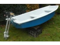 Dinghy Boat Tender 8ft x 4ft with Seagull Outboard Engine/Motor For fishing or fun on water
