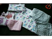 Nursery bedding (2 sets) and curtains.