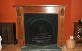 CAST IRON PERIOD FIREPLACE WITH SOLID WOOD SURROUND £200