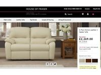G PLAN MISTRAL LUXURY CREAM LEATHER 2 SEAT SEATER SOFA COUCH SETTEE RRP £2269
