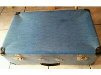 Vintage retro blue suitcase