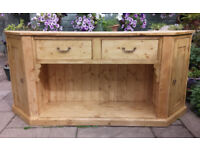 BREAK FRONT SIDEBOARD WITH 2 DRAWERS OVER POT SHELF AND CUPBOARD EITHER END.