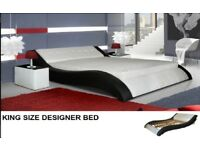 King Size Designer Bed Modern Stylish with 2 Side tables & 2 Wardrobes