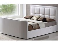Super king white leather tv bed (tv included)