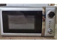 Silver microwave 20 Litres, excellent condition, with warranty, RRP £50