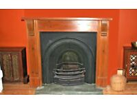 CAST IRON PERIOD FIREPLACE WITH SOLID WOOD SURROUND