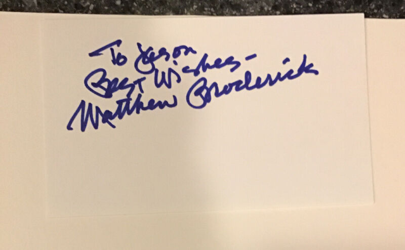 Matthew Broderick Autographed Index Card Great Actor