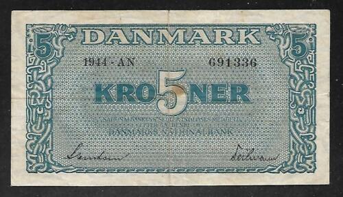 Denmark - Old WWII Era 5 Kroner Note - 1944 - P35a - VF