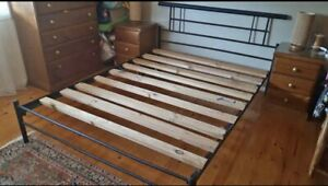 Metal queen size bed and mattress delivery available
