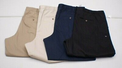 Basic Editions BIG MENS Stretch COMFORT Waist Pleated KHAKI Casual Pants NEW Casual Pant Khaki