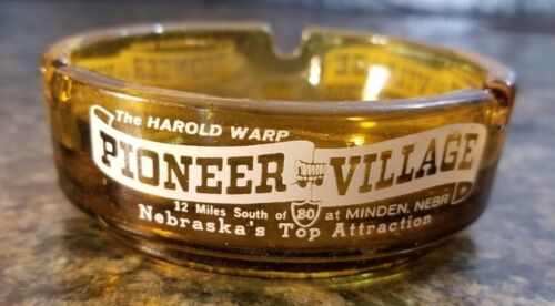 Vintage The Harold Warp Pioneer Village Souvenir Glass Ashtray Nebraska