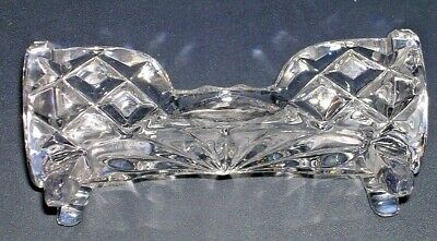 Fancy Floral Etched Crystal Glass Business Card Holder 4 Footed Mint Classy Desk